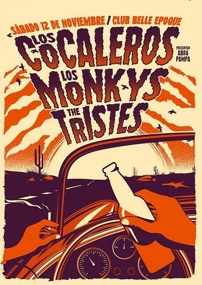 Los Cocaleros, Los Monkys y The Tristes en Club Belle Epoque
