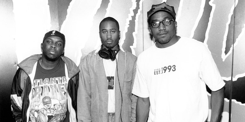 """1994: (L-R) Phife Dawg, Ali Shaheed Muhammad & Q-Tip of the hip hop group """"A Tribe Called Quest"""" pose for a portrait in 1994. (Photo by Raymond Boyd/Michael Ochs Archives/Getty Images)"""
