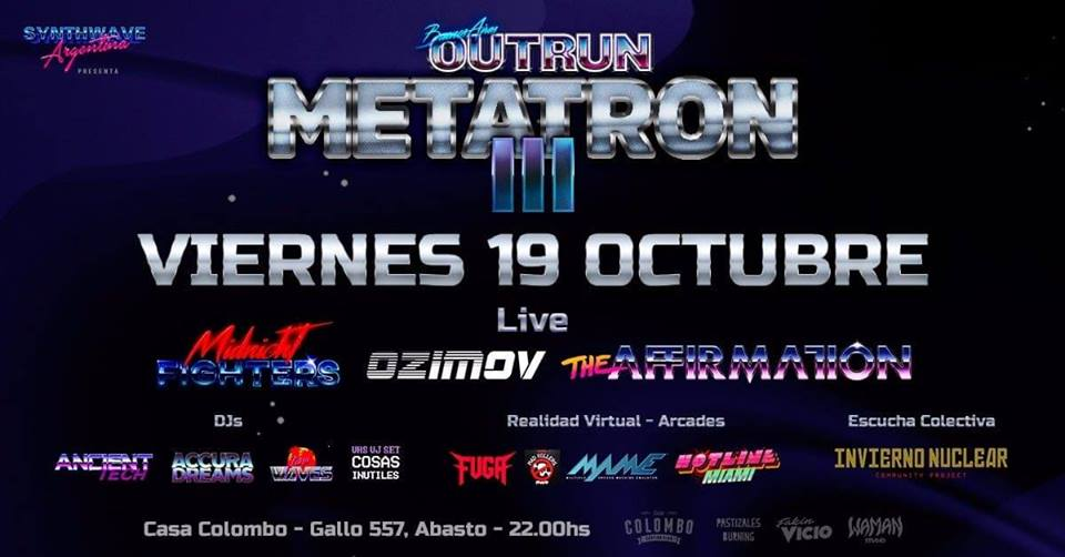 Ozimov + The Affirmation + Midnight Fighters en Buenos Aires Outrun