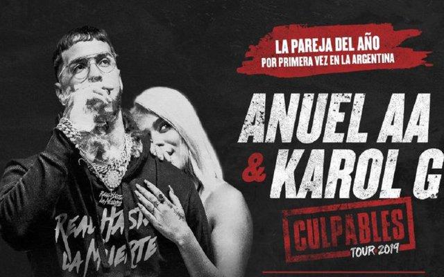 Anuel AA y Karol G en GEBA