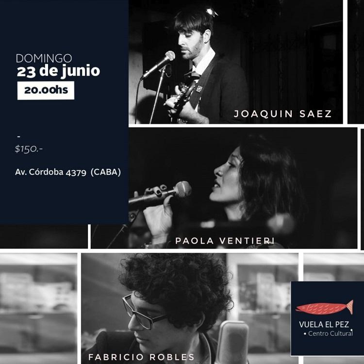 Paola Ventieri, Joaquín Saez y Fabricio Robles en Vuela el Pez