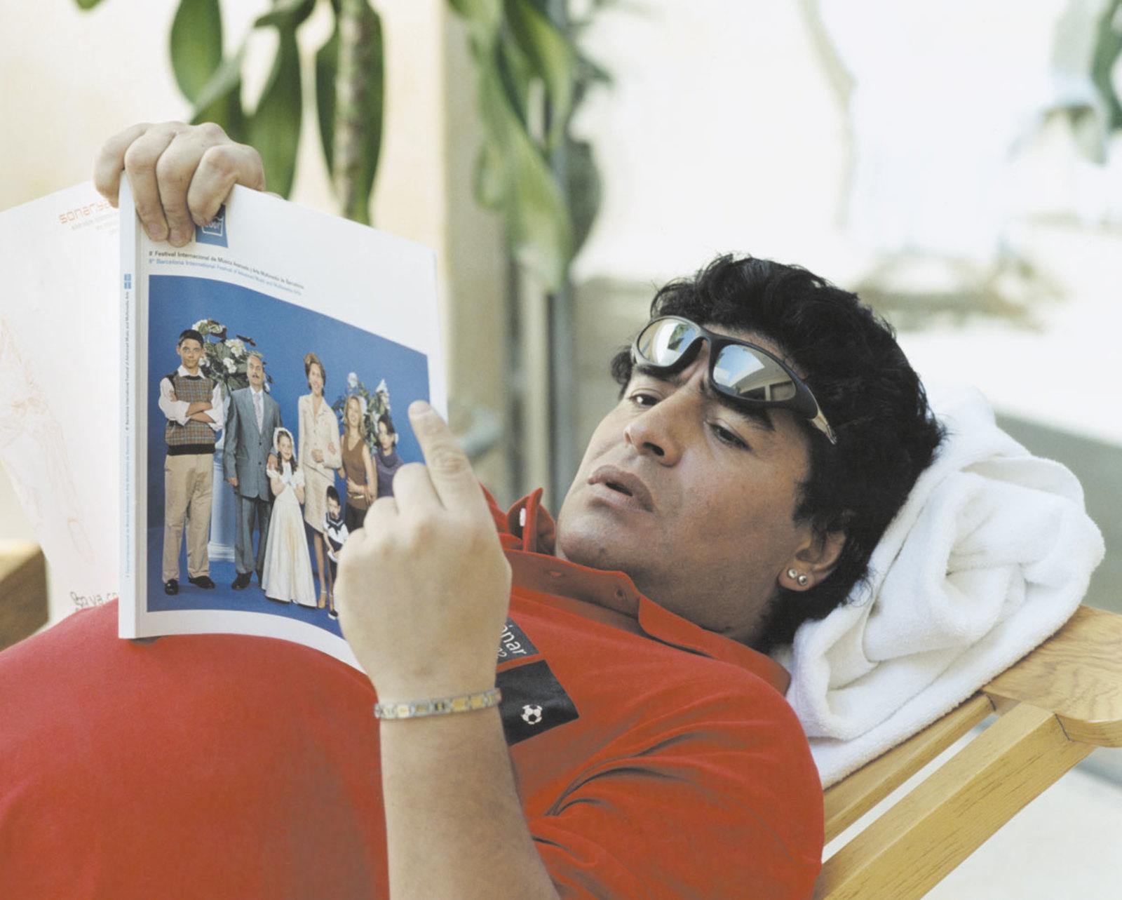 Diego Maradona en la campaña del festival Sónar 2002