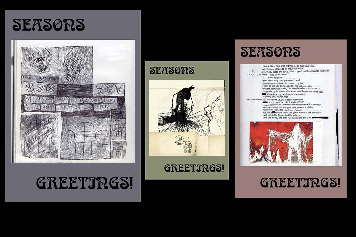 Algunos de los modelos de las tarjetas navideñas de Radiohead