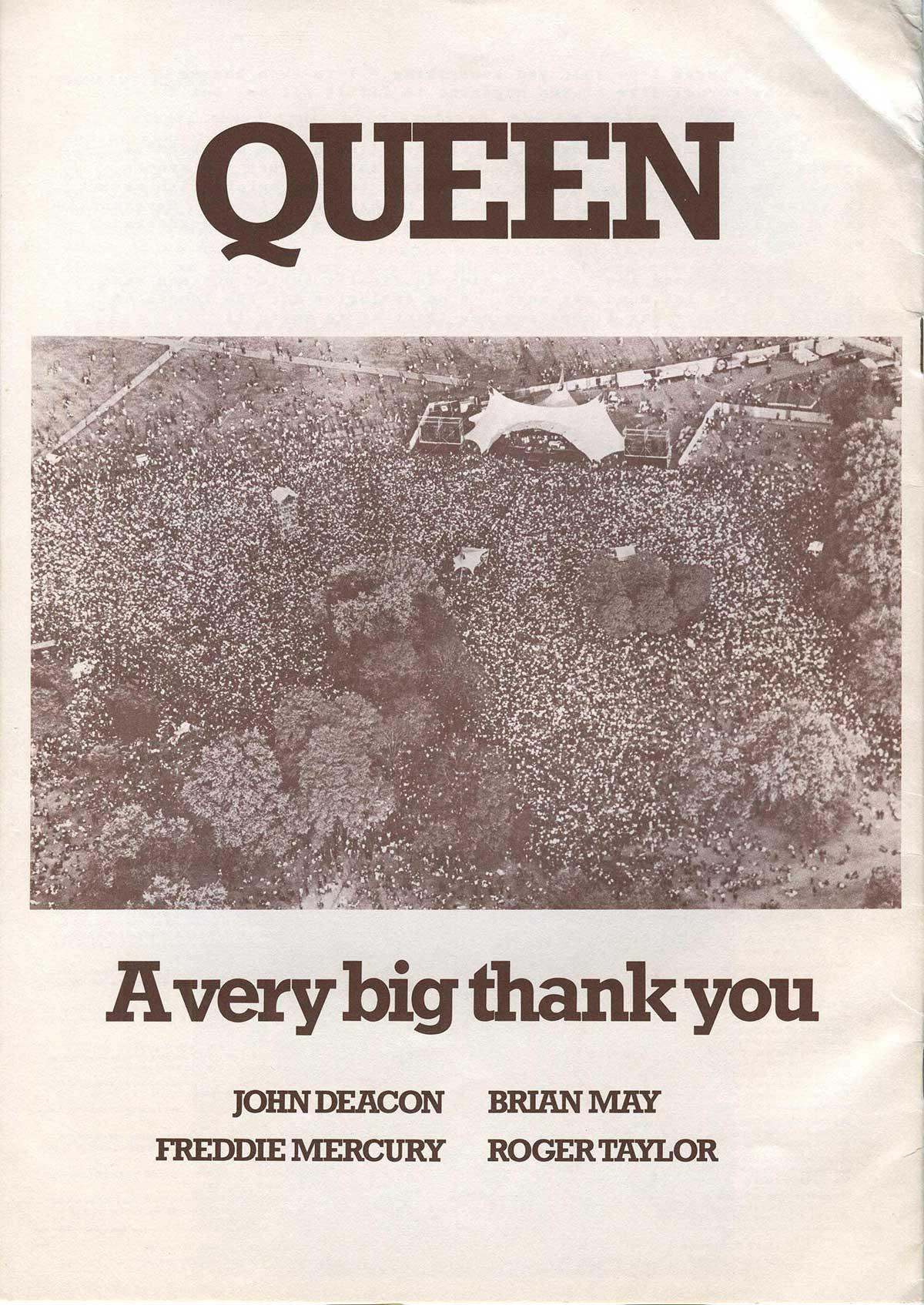 Afiche de Queen en el Hyde Park de 1976