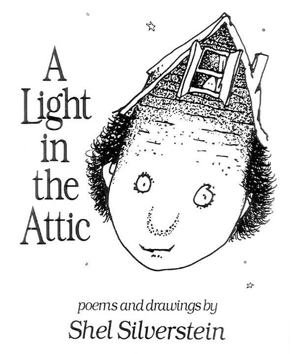 """Tapa de """"A Light in the Attic"""", libro de Shel Silverstein"""